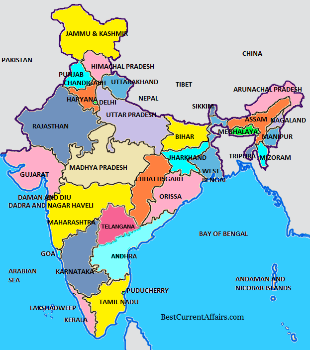 India States Map 2016.Sikkim Declared First Organic State Best Current Affairs